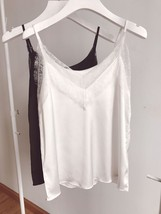 WHITE LACE Silky Tank Top Summer Sleeveless Tank White Bridesmaid Lace Top Shirt image 10