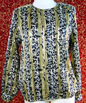 NICOLA Vintage 80s artsy animal polyester blouse 14 w/DEFECT (T42-02I8G) image 10