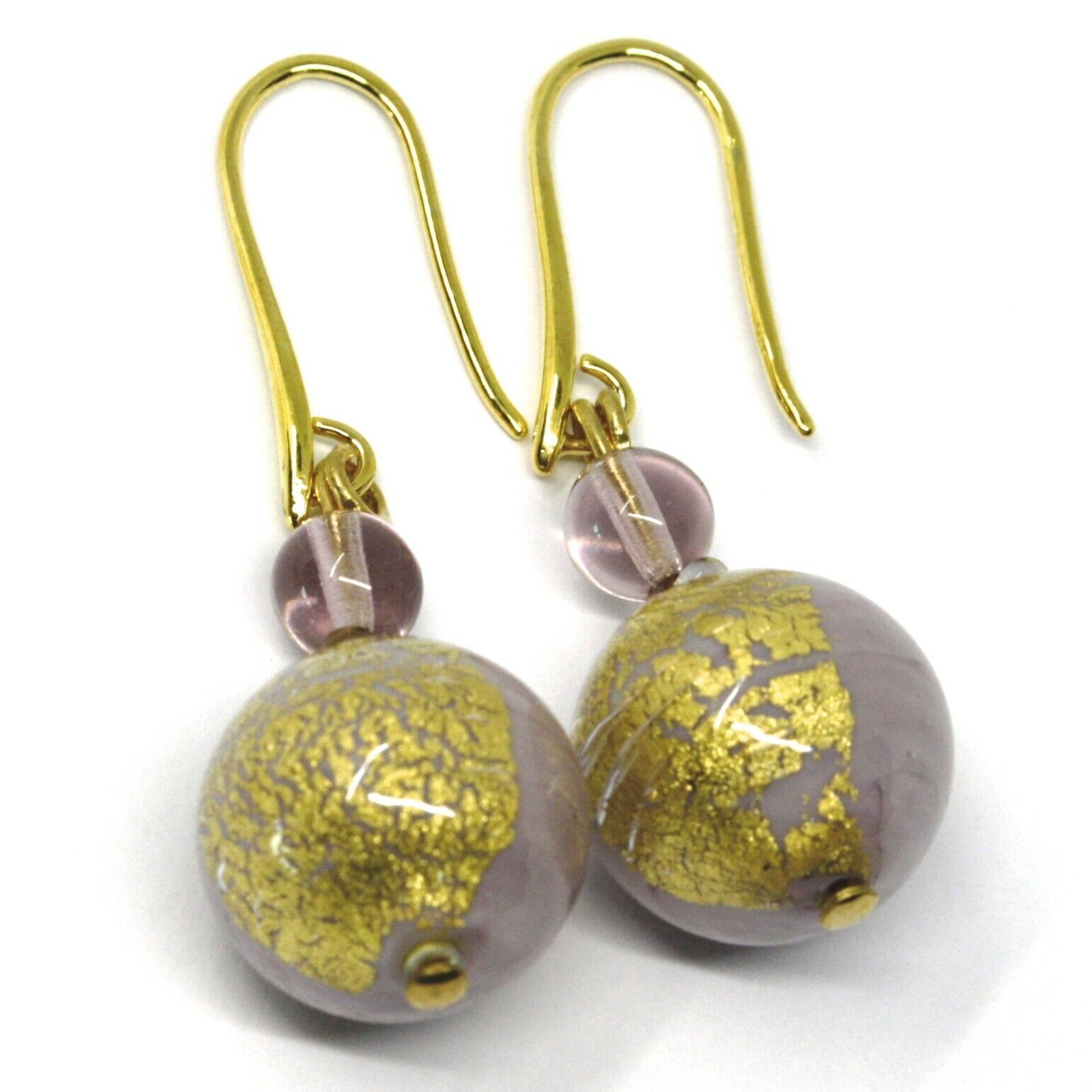 PENDANT EARRINGS PURPLE MURANO GLASS SPHERE & GOLD LEAF, 4.5cm, MADE IN ITALY