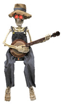 Skeleton Playing Banjo Prop Animated 40 inch Halloween Decoration - $68.90