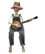Skeleton Playing Banjo Prop Animated 40 inch Halloween Decoration - $68.90