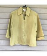 S.L.B. Women's Blouse 100% Silk Fall Light Green Top 3/4 Sleeve Small Cr... - $18.00