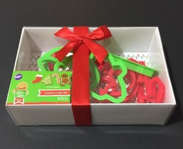 Wilton Christmas Cookie Cutter Set 10 Piece Holiday New with Red Ribbon Giftable - $9.69