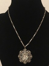 Vintage Silver Toned Necklace With Crystal Pendant - $6.00