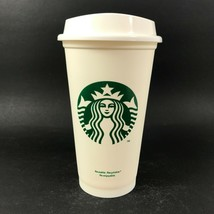 Starbucks Reusable Cup Coffee Hot Cup Plastic White Grande 16oz Coffee T... - $11.68