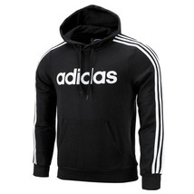 Adidas Essential 3-Stripes Pullover Hoodie Pocket Long Sleeves Black DQ3096 - $61.99