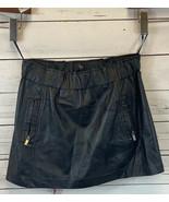 Aqua Bloomingdales Black Genuine Leather Zip Pocket Detail Mini Skirt Si... - $54.54