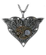 Steampunk Gearwork Angelic Wings Heart Necklace Alloy Pendant Jewelry - $14.84