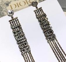 NEW AUTH Christian Dior 2019 J'ADIOR EARRINGS GOLD CRYSTAL DANGLE MULTI STRAND image 10