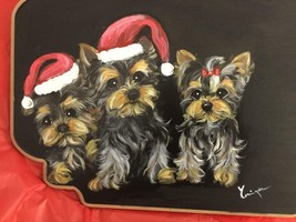 THREE YORKIE PUPPIES FOR CHRISTMAS HAND PAINTED BOARD - $145.00