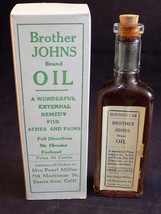 ANTIQUE BROTHER JOHN'S OIL 1oz UNOPENED w/ Original Box and Flyer - $12.86
