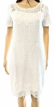 2302 LRL Ralph Lauren Womens White Crochet Short Sleeves Sheath Dress Sz... - $69.29