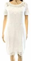 2302 LRL Ralph Lauren Womens White Crochet Short Sleeves Sheath Dress Sz... - $69.29