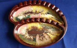 Vintage ash tray  MCM Atomic Drip Green Brown Rose Ceramic from Japan - $30.03