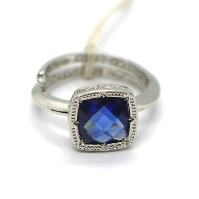 REBECCA BRONZE SOLITAIRE RING, BLUE CUSHION SQUARE MINI CRYSTAL, ITALY MADE