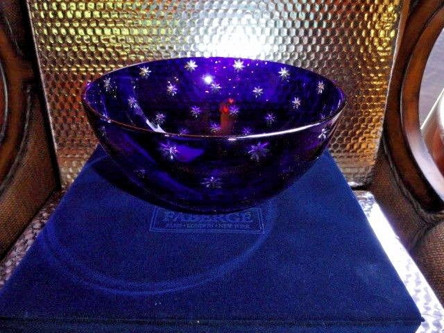 Faberge Galaxy Crystal Martini Glasses in Cobalt Blue