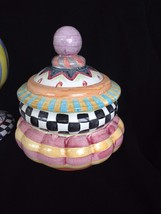 Mackenzie Childs Taylor Courtly Check Ceramic Pottery CANISTER Cookie Jar  - $198.00
