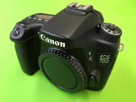 Canon EOS 70D 20.2MP Digital SLR Camera Black(Body Only) with body cap USED - $444.51