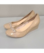 Cole Haan beige Bow Leather Wedge Pumps size 9  Slip on Carrier Shoes  - $47.95
