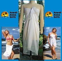 NEW WHITE BEACH COVER UP SARONG SHORT SOFT POLY WRAP PAREO BIKINI SKIRT ... - $9.49
