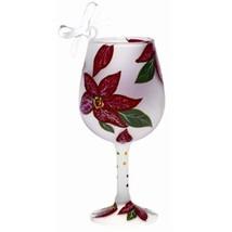 Lolita MINI Poinsettia Christmas Wine Glass Ornament Holiday Rare Points... - $23.42