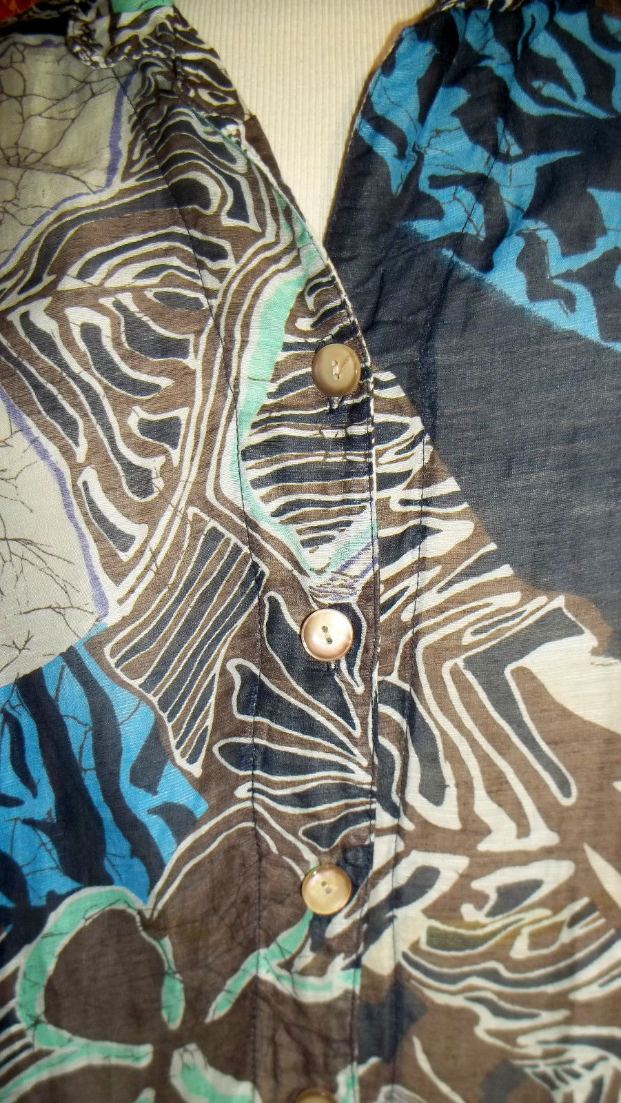 MANGO TANGO navy artsy abstract rayon/linen short sleeve blouse M (T3303C8G)