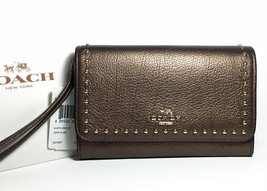 Coach Bronze Leather Wristlet Wallet w/ Goldtone Rivets fits iPhone 8 F66194 NWT - $68.81