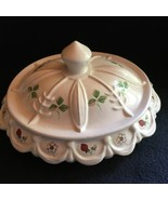 Candy Dish covered white hand painted ceramic strawberries berry flowers... - $4.88