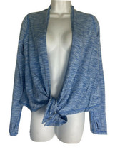 Ivivva Girls Space Dye Blue Snap Button Tie Front Waterfall Cardigan Siz... - $28.70