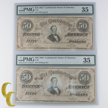 Plein De 2 Séquentiel 1864 Confédéré Classé Par PMG Comme Ch VF-35 ! Éto... - $461.60