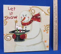 Canvas Wall Hanging Snowman Picture w/ LED Lights Let It Snow Christmas ... - $20.78