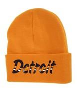 Detroit Adult Size Wavy Script Winter Knit Beanie Hat (Orange) - $12.95