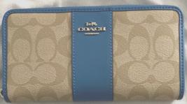 New Coach F54630 Accordion zip wallet Coated Canvas Light Khaki / Bright... - $75.00