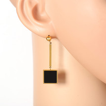 Stylish Gold Tone Designer Drop Earrings, Jet Black Inlay & Dangling Square - $17.99
