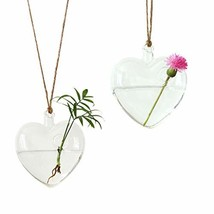 Ivolador Heart-Shaped Hanging Glass Flower Planter Vase Terrarium Contai... - $31.99