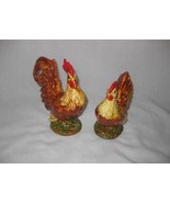 Great Pair Vintage Figural Chickens Rooster Hen Ceramic Figurines - $106.24