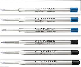 6 x Parker Quink Flow BallPoint Pen BallPen Refills Fine 3 Blue + 3 Blac... - $8.99