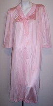 Vintage MW Nightgown M Pink Sissy Button Up Robe Lingerie Gown Medium Bu... - $19.50
