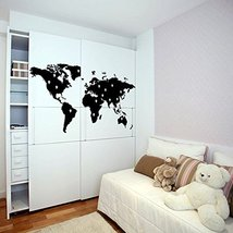 ( 55'' x 30'') Vinyl Wall Decal World Map with Google Dots / Earth Atlas Shiluet - $49.64