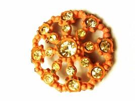 Pink Enamel Circular pin with rhinestones Vintage Brooch - $10.49