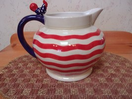 Department Brand #56 American Rooster Red White & Blue Pottery Pitcher *... - $31.68