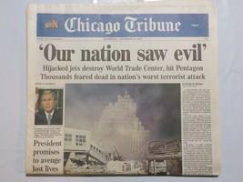 Chicago Tribune September 12 2001 Terrorism 9/11 Hijackers Bush War CBx2 - $39.99