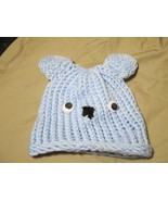 Handmade Knitted Blue BOO Bear Infant Winter Hat Cap CUTE - $9.90