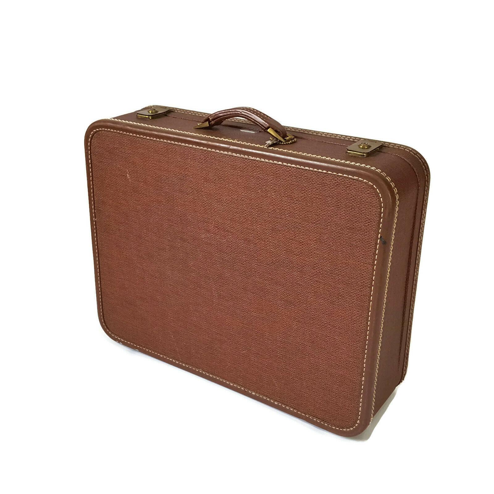 """Vintage Hardside Suitcase 1950s Luggage Burlesque Case Valise 21"""" Wedding"""