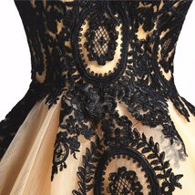 Long Ball Gown Black Lace Gothic Corset Formal Prom Evening Dresses Lavener image 2