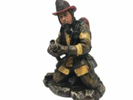 Hobby Lobby Resin Fireman Firefighter Holding Hose Figurine - $14.99