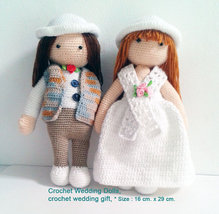 Crochet Wedding Dolls , * Size : 16 cm. x 29 cm., crochet wedding gift, ... - $80.00
