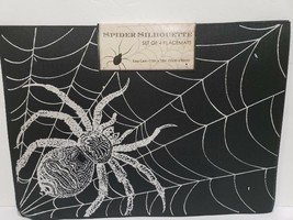 Halloween CREEPY SPIDER WEB Vinyl Black Silver Placemats Decor set of 4 - $24.99