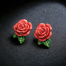 Red Enamel Rose Flowers Plant Green Leaf Stud Earrigns For Christmas - $12.60