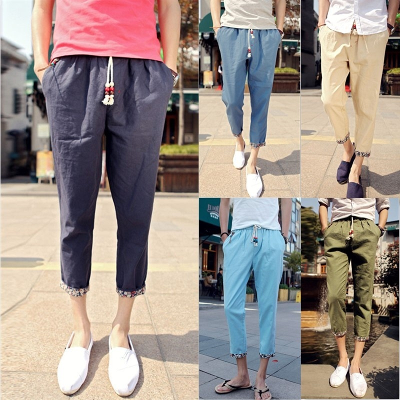 Men Casual Solid Color Nine Minutes Pants Thin Loose Pants